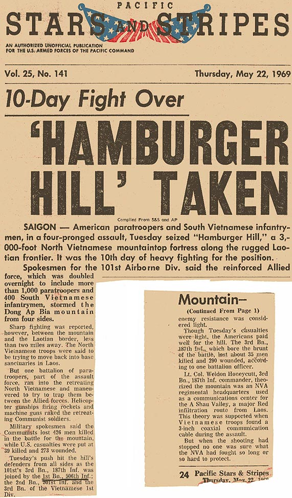 10-Day Fight Over: 'Hamburger Hill' Taken: article in the May 22, 1969,  Pacific Stars and Stripes newspaper ...