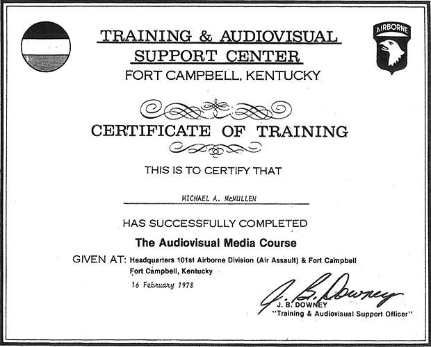 training certificates 1978 1979